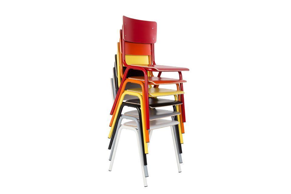 Rug en zitting in multiplex, frame en poten in staal, Back to School is veilig