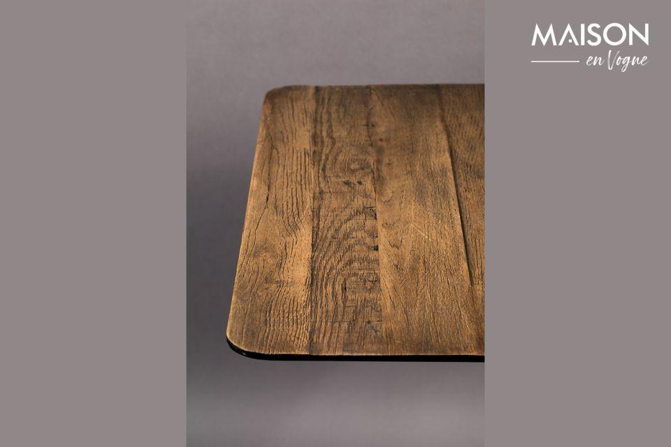 Deze tafel is ook verkrijgbaar met een dennenhouten blad