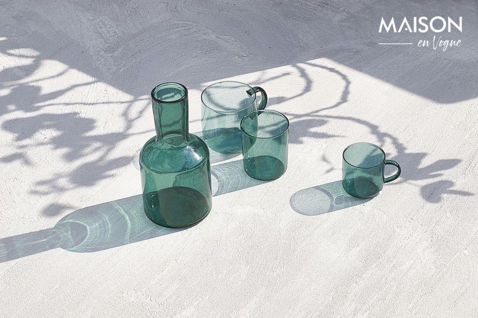 Set van 4 theeblauwe glazen bekers