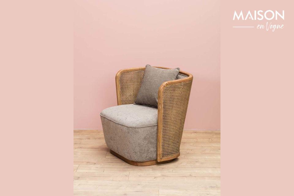 Mooie gemengde fauteuil rotan en stof