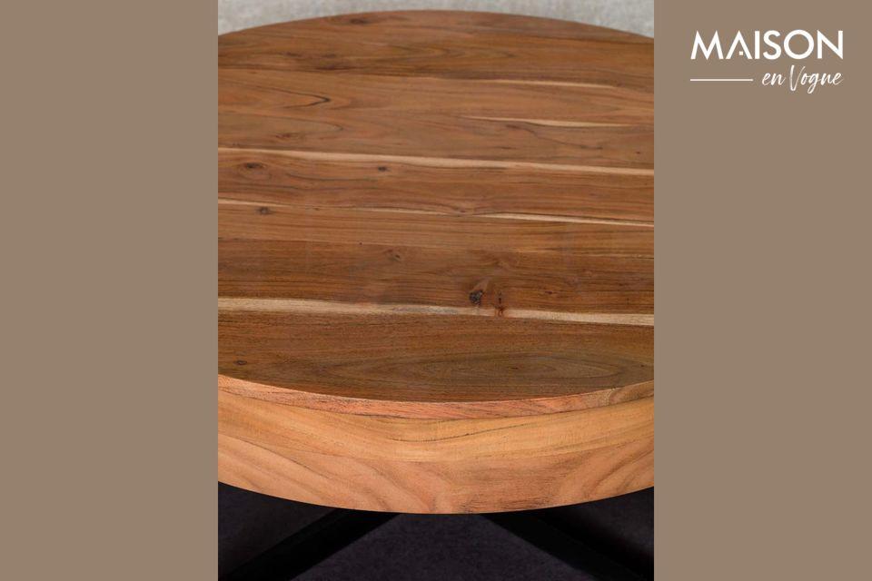 Een ronde salontafel met twee lades in een tijdloze stijl