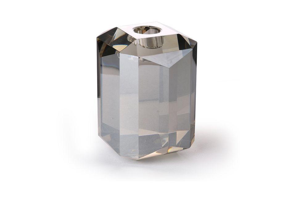 Glazen kandelaar Kristalgrijze diamant HK Living