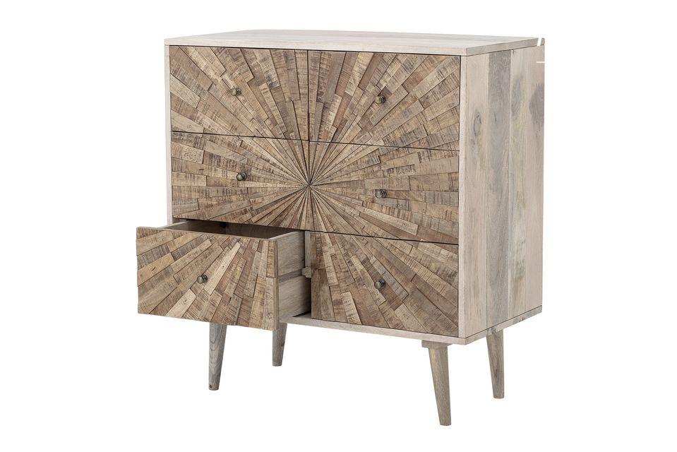 Het zal zich aanpassen aan een retro-omgeving dankzij het houtachtige materiaal en aan een