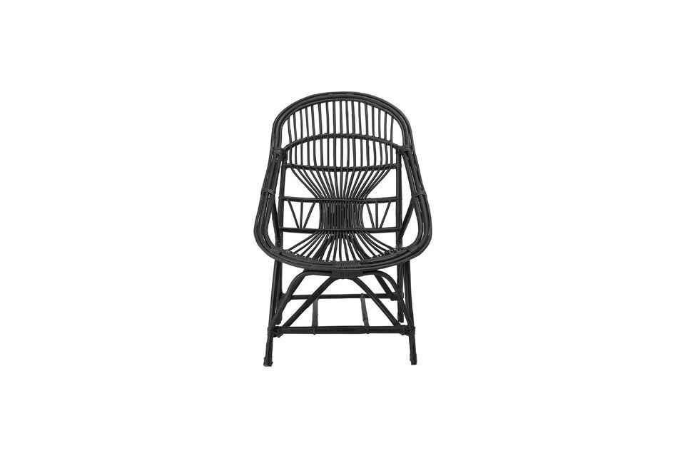 Joline zwarte rotan loungestoel - 4