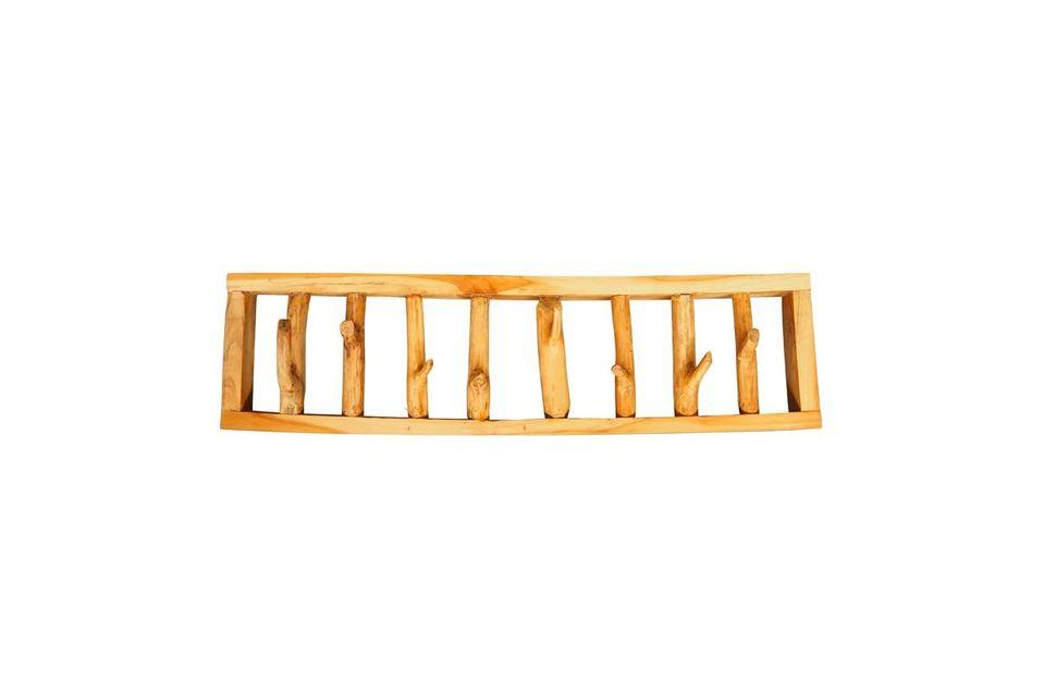 Met zijn licht gebeitste houtstructuur legt dit decoratieve object zijn originaliteit op