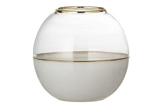 Koepelvaas in wit glas