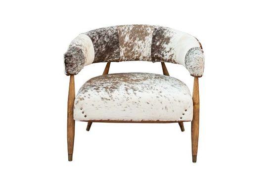 Les Rocheuses koe en eikenhouten fauteuil Productfoto