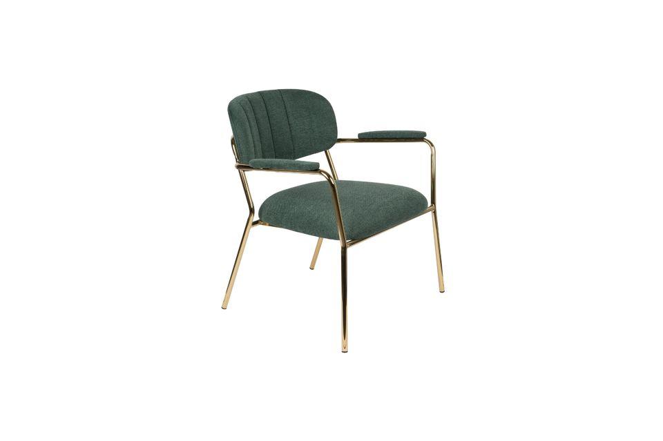 Lounge chair Jolien met gouden en donkergroene armleuningen
