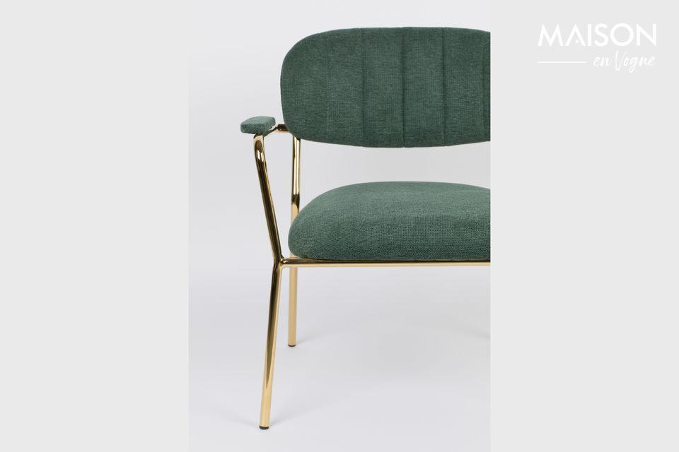 Lounge chair Jolien goud en donkergroen kleur