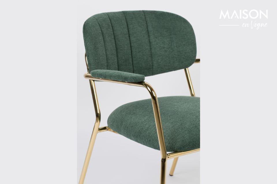 White label living biedt een prachtige donkergroene loungestoel met prachtig gevormde gouden poten