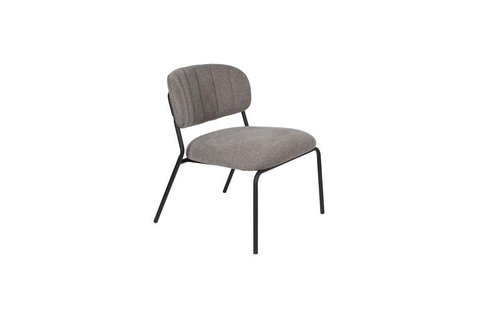 Lounge chair Jolien zwart en grijs - 5