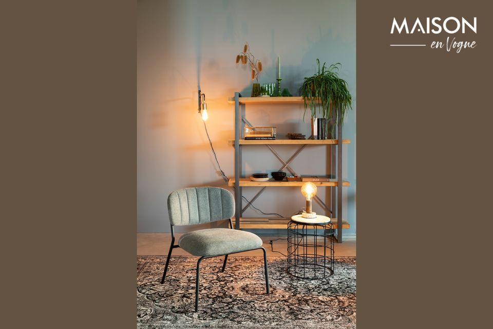 Lounge chair Jolien zwart en grijs