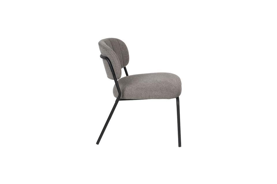 Lounge chair Jolien zwart en grijs - 7