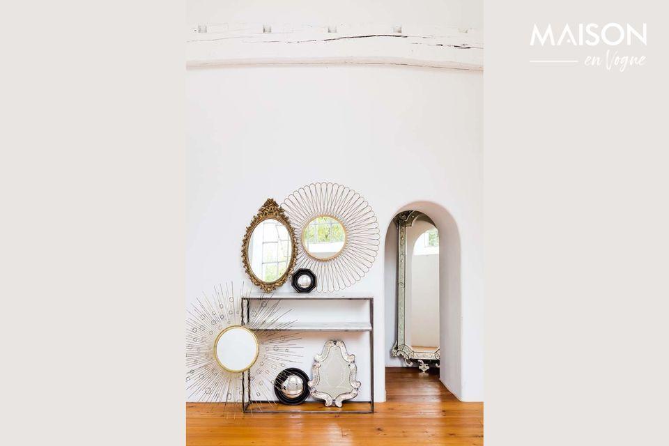 Een art deco stijl console met twee marmeren en metalen planken