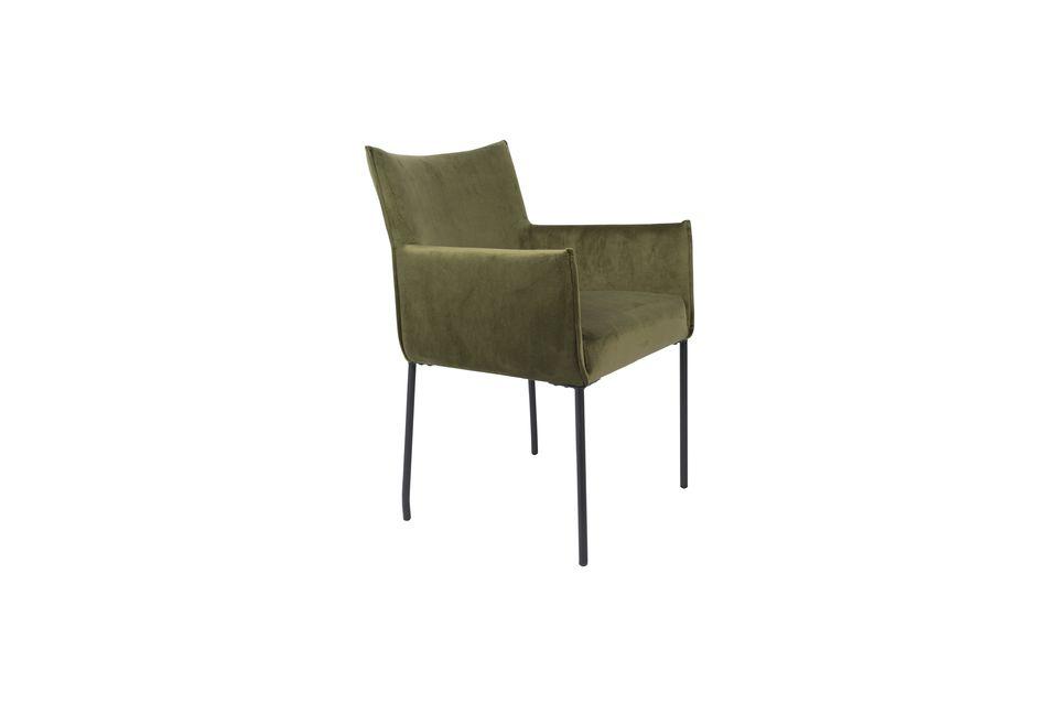 Olijfgroene fluwelen Dion-fauteuil