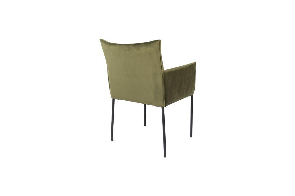 Olijfgroene fluwelen Dion-fauteuil - 7