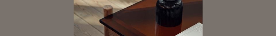 Benadrukte materialen Salontafel in hout en Amberglas