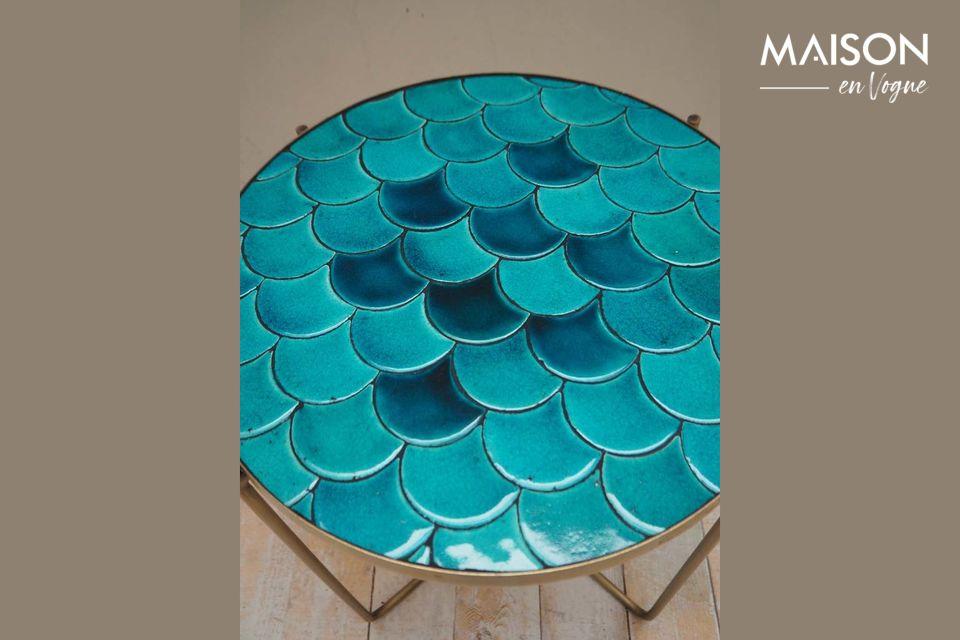 De Séguret bijzettafel biedt een bijzondere architectuur met zijn blauwe schalen in keramiek