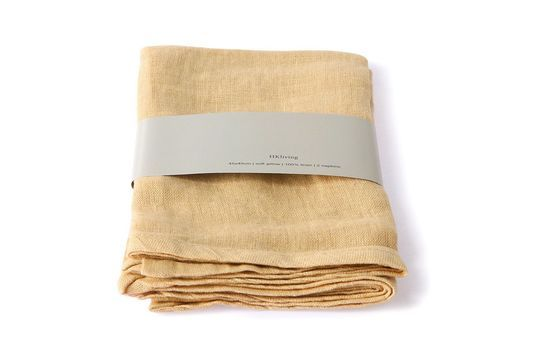 Set van 2 Cavan gele linnen servetten