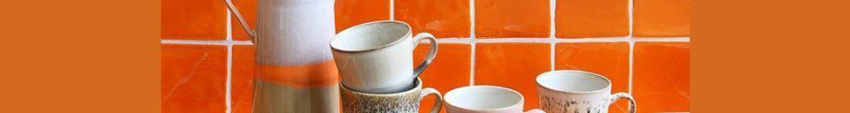 Benadrukte materialen Set van 4 Americano keramische mokken 70's