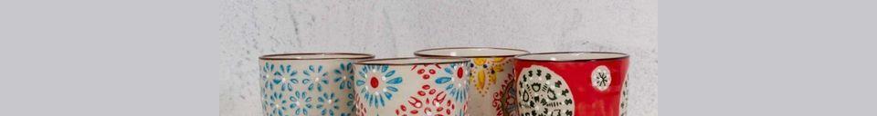 Benadrukte materialen Set van 4 Boheemse espressokopjes