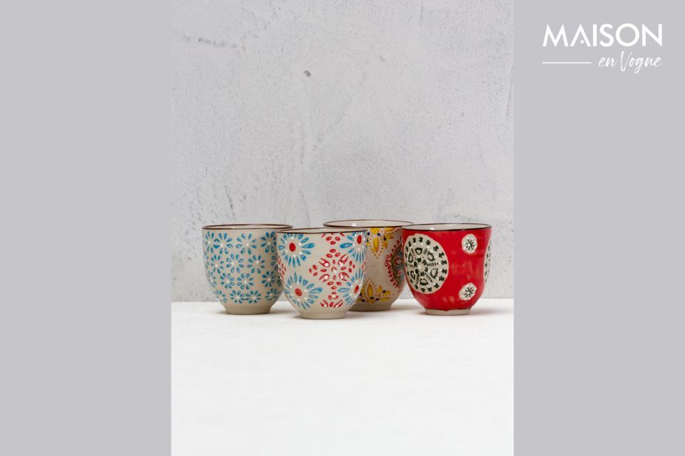 Set van 4 Boheemse espressokopjes Chehoma