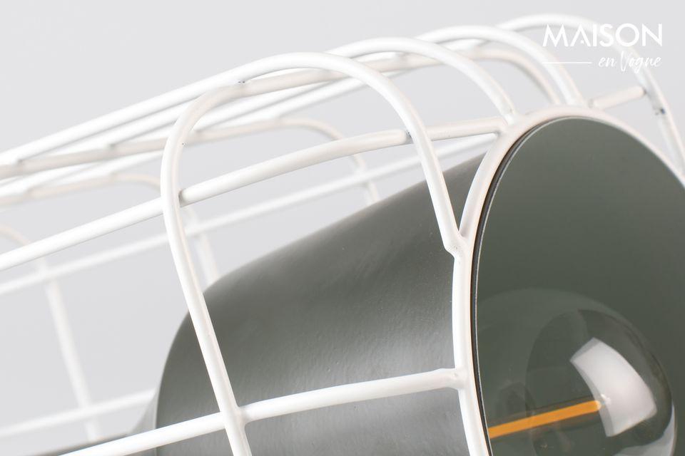 Mooie zwart-witte tafellamp, imitatie van een miniprojector.