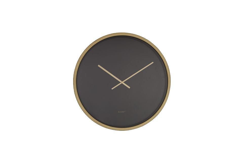 De Time Bandit klok in zwart / messing biedt een eenvoudig maar effectief ontwerp