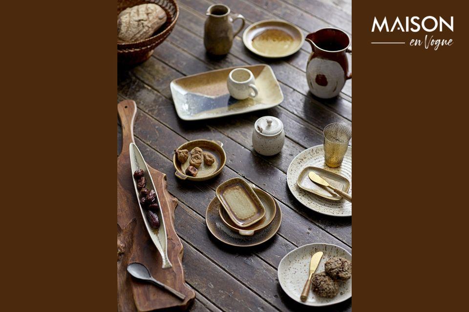 Een steengoed plaat om het vakmanschap aan tafel te sublimeren