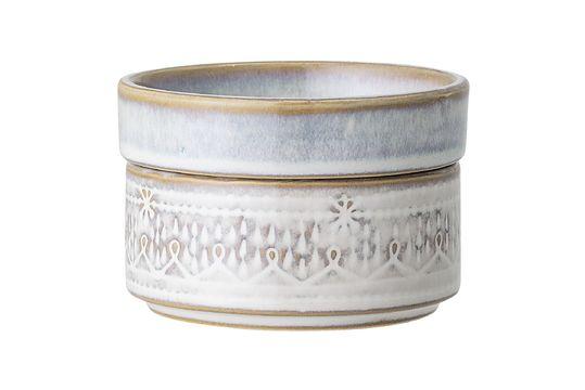 Wit steengoed Camellia potje met deksel Productfoto